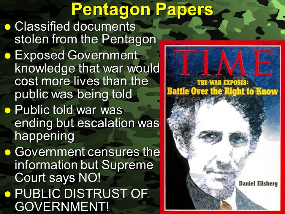 Pentagon Papers Classified documents stolen from the Pentagon