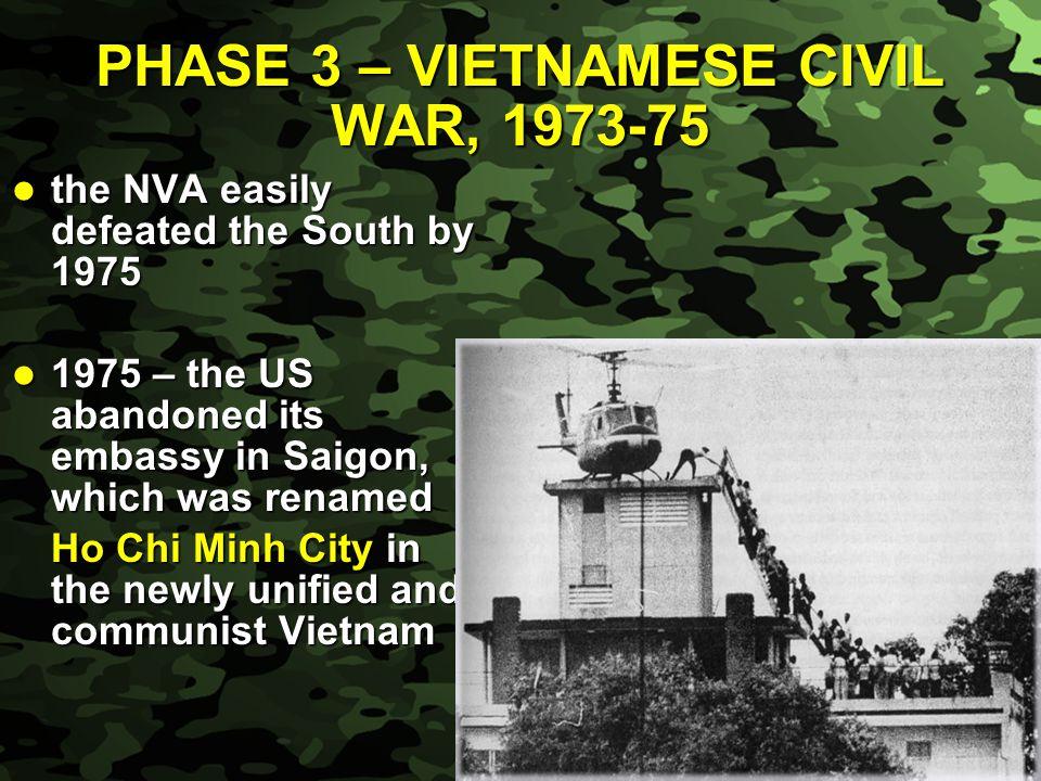 PHASE 3 – VIETNAMESE CIVIL WAR, 1973-75