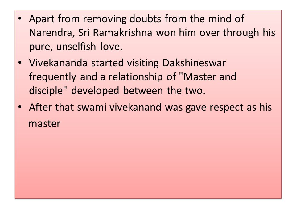 relationship between ramakrishna and vivekananda