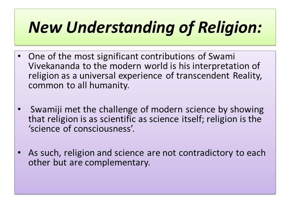 New Understanding of Religion: