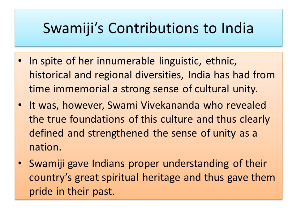 Swamiji's Contributions to India