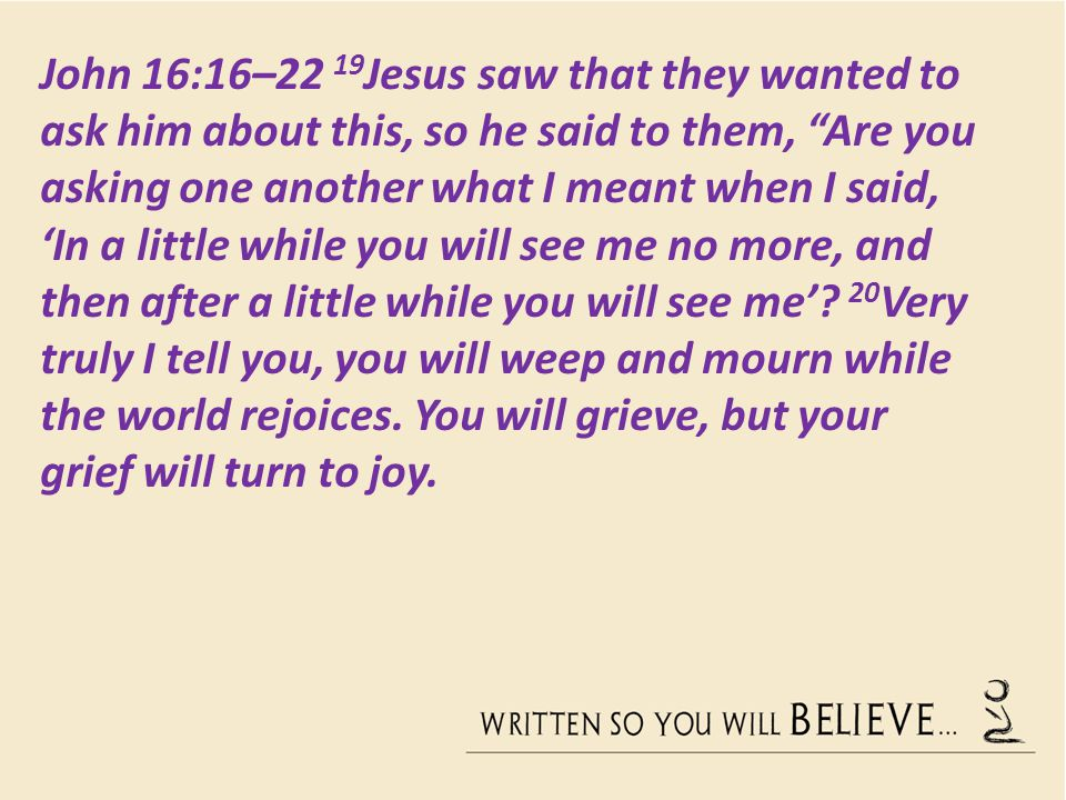 John 16:16–22 19Jesus saw that they wanted to ask him about this, so he said to them, Are you asking one another what I meant when I said, 'In a little while you will see me no more, and then after a little while you will see me'.