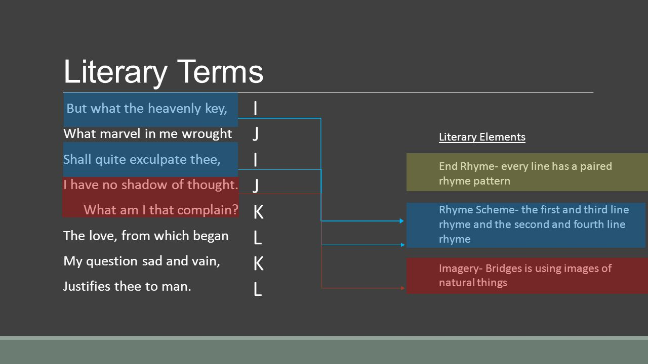 Literary Terms I J K L What marvel in me wrought
