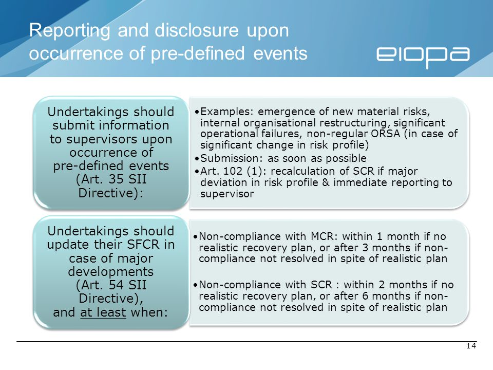 Reporting and disclosure upon occurrence of pre-defined events