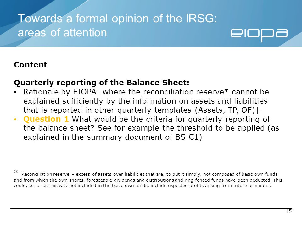 Towards a formal opinion of the IRSG: areas of attention