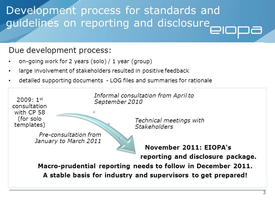 Development process for standards and guidelines on reporting and disclosure