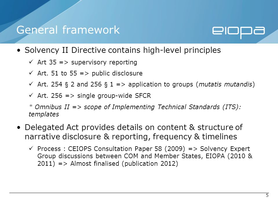 General framework Solvency II Directive contains high-level principles