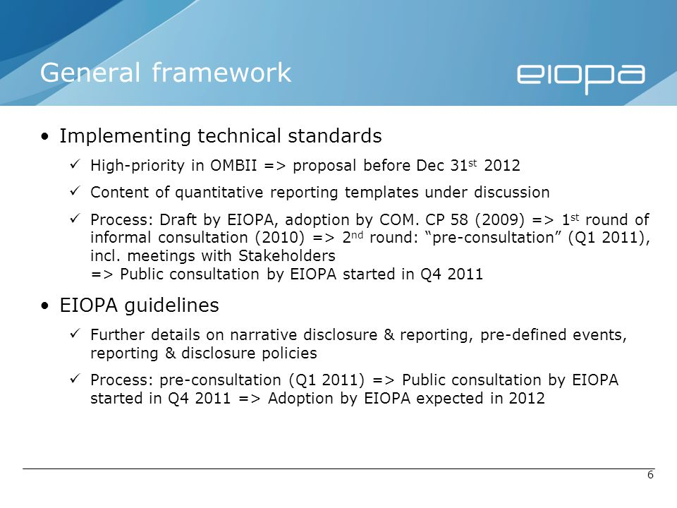 General framework Implementing technical standards EIOPA guidelines