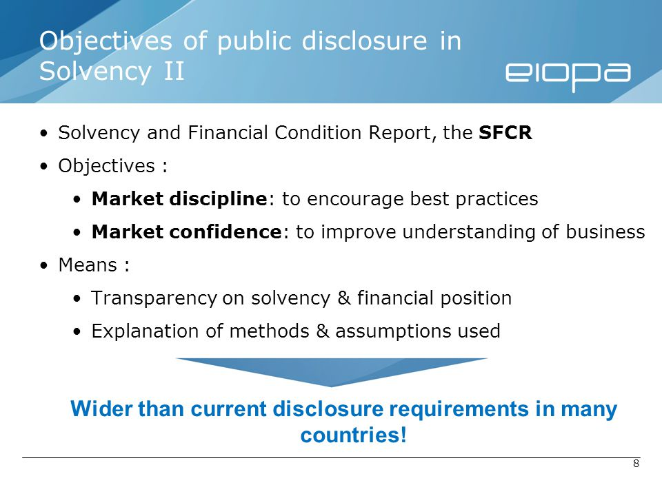 Objectives of public disclosure in Solvency II