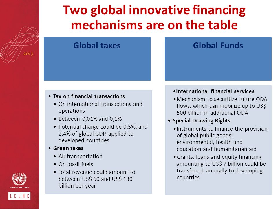 Two global innovative financing mechanisms are on the table