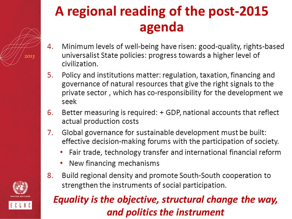 A regional reading of the post-2015 agenda