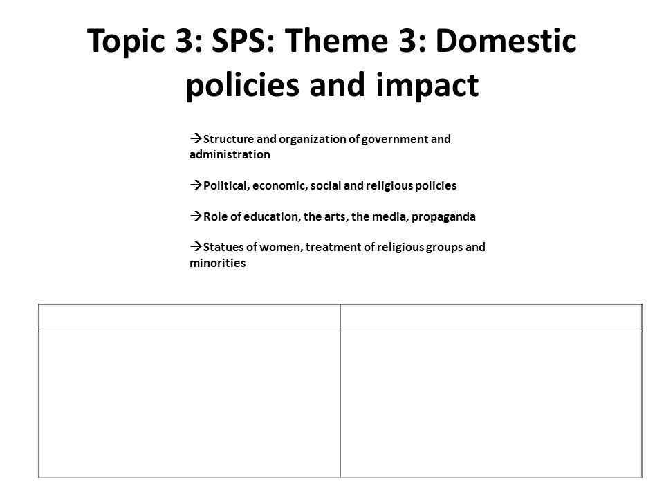 Topic 3: SPS: Theme 3: Domestic policies and impact