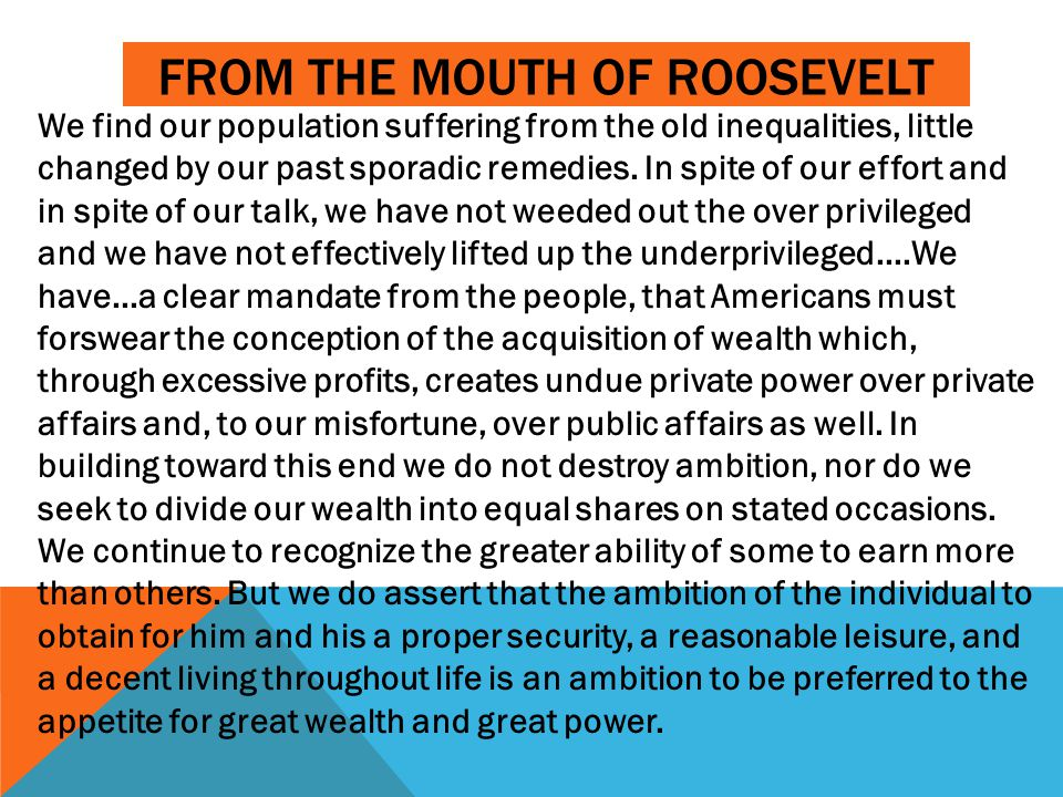 From the Mouth of Roosevelt