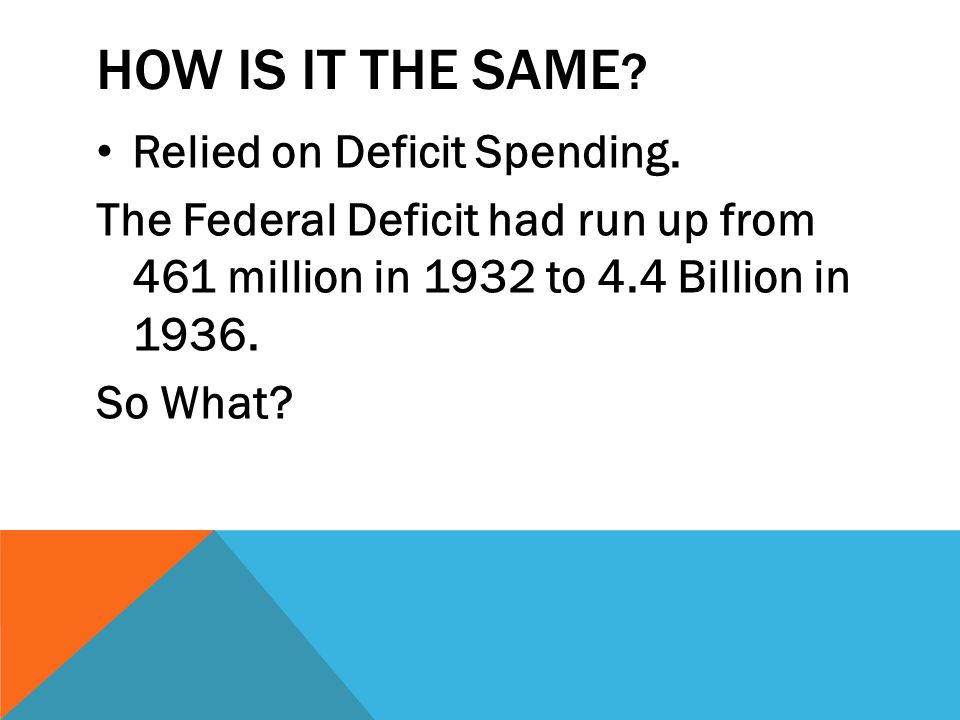 How is it the same Relied on Deficit Spending.