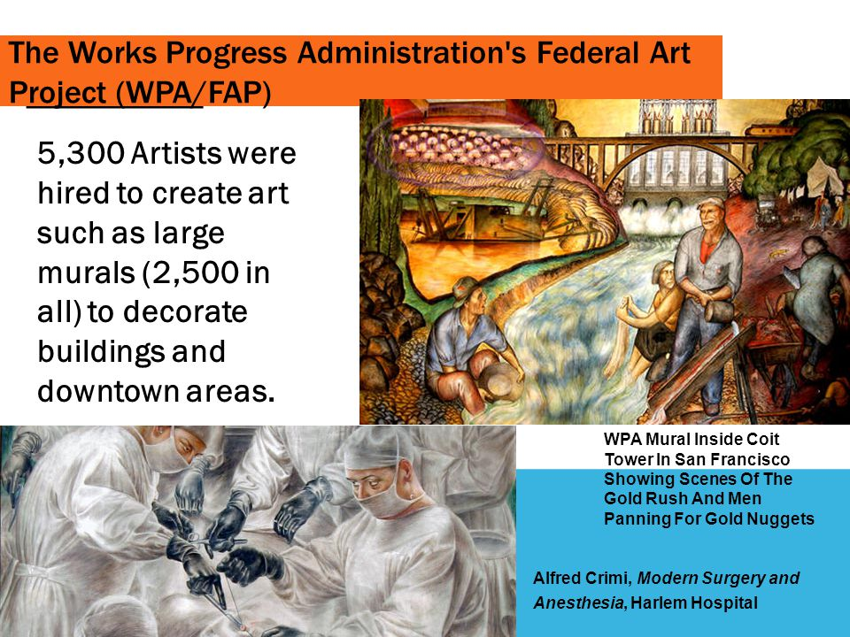_____ The Works Progress Administration s Federal Art Project (WPA/FAP)