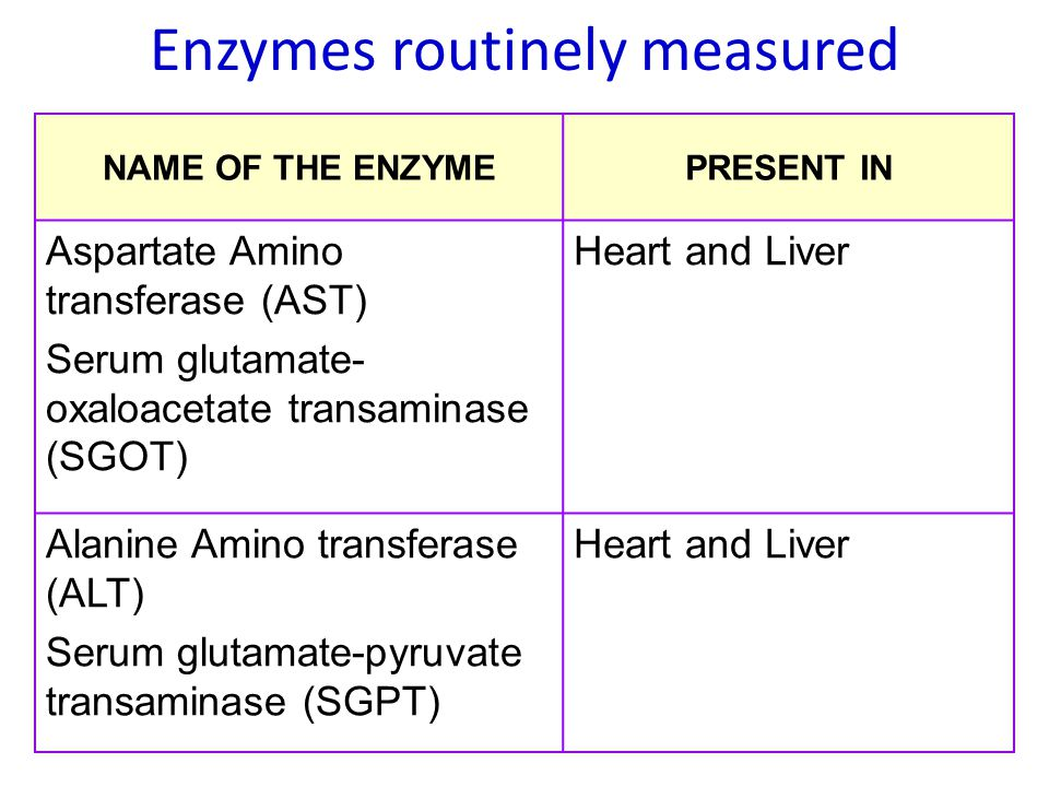 Enzymes routinely measured