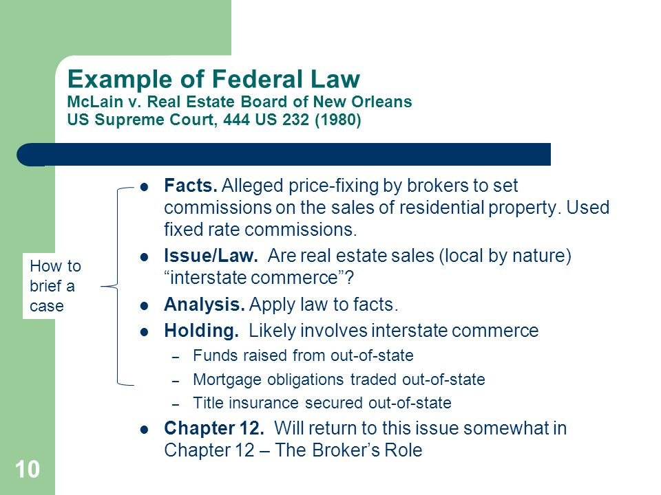 Example of Federal Law McLain v