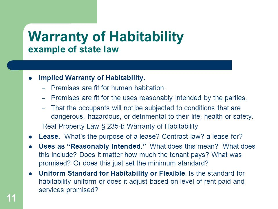 Warranty of Habitability example of state law