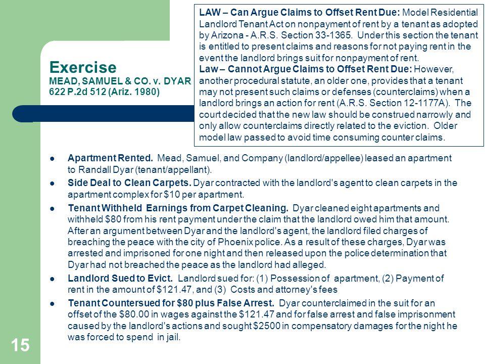 Exercise MEAD, SAMUEL & CO. v. DYAR 622 P.2d 512 (Ariz. 1980)