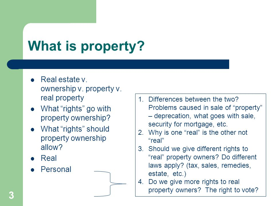 What is property Real estate v. ownership v. property v. real property. What rights go with property ownership