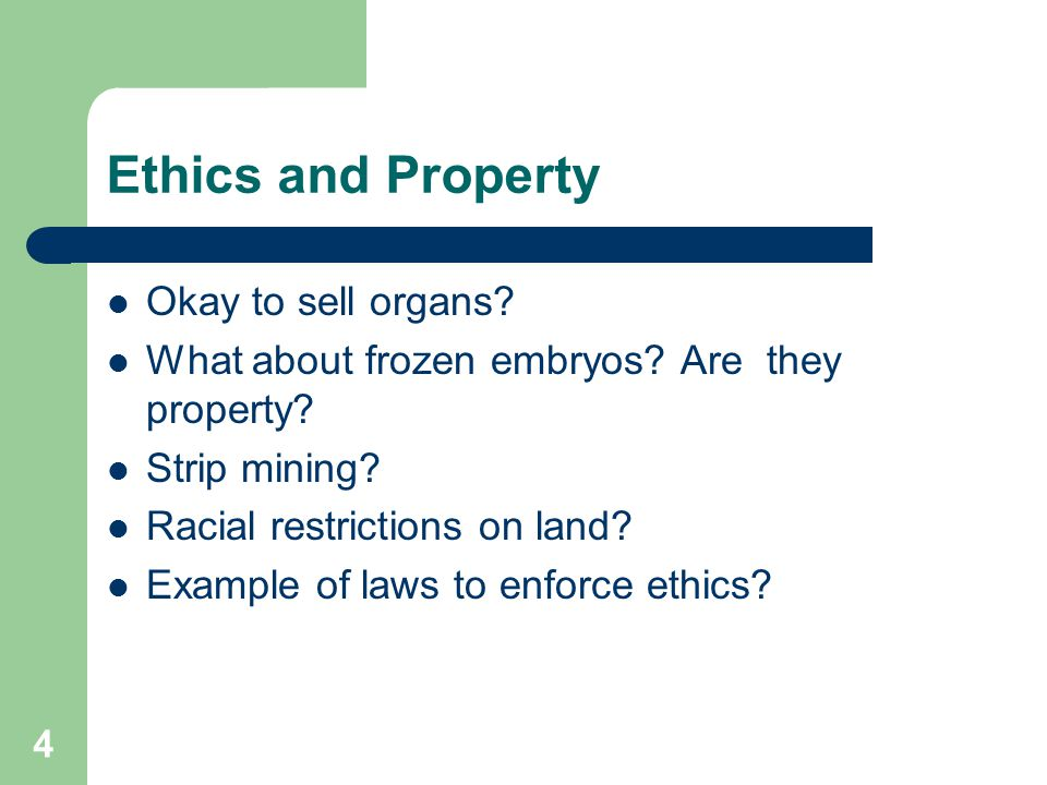 Ethics and Property Okay to sell organs