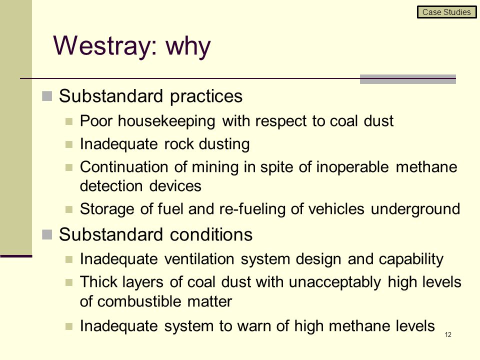 Westray: why Substandard practices Substandard conditions