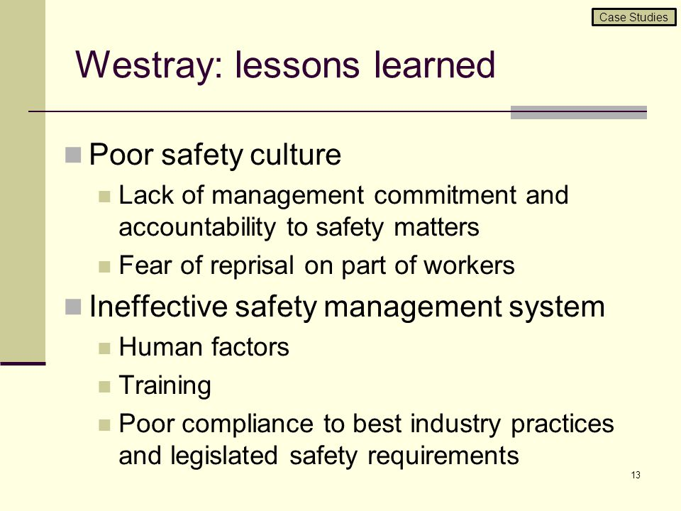 Westray: lessons learned