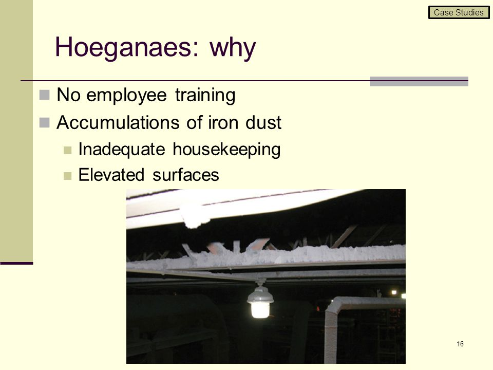 Hoeganaes: why No employee training Accumulations of iron dust