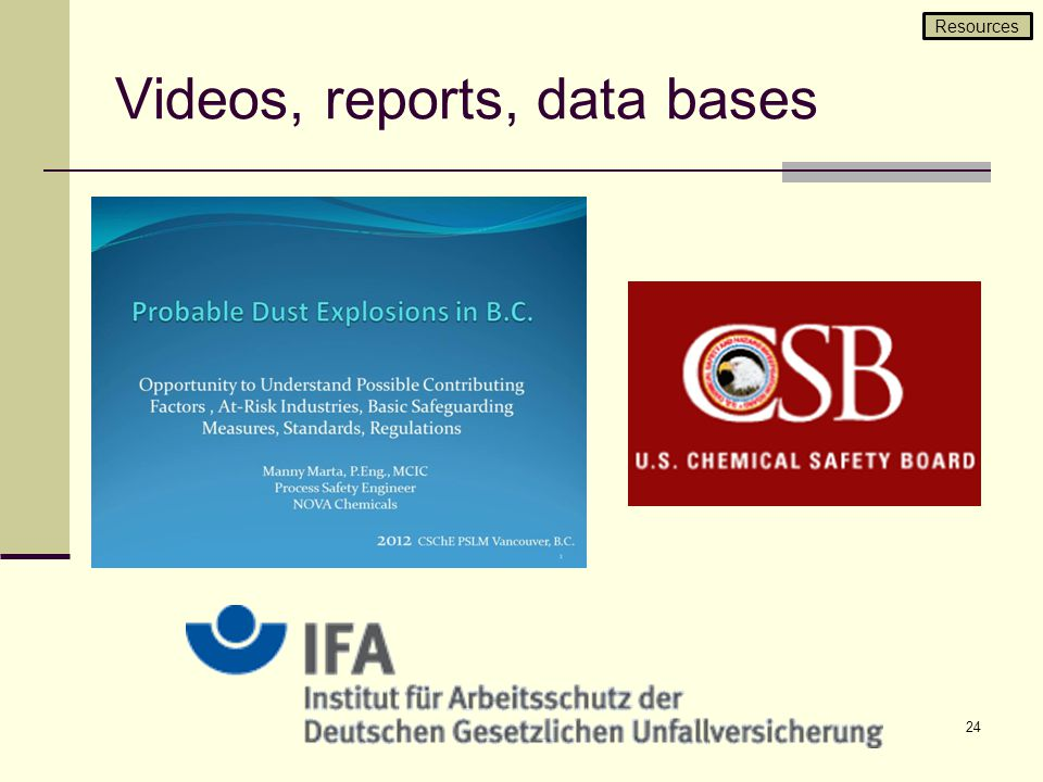 Videos, reports, data bases