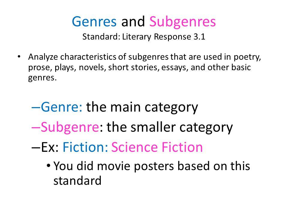 Genres and Subgenres Standard: Literary Response 3.1
