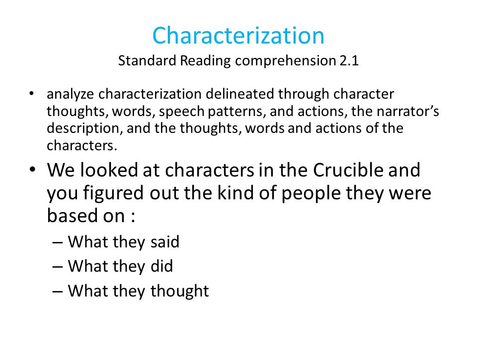 Characterization Standard Reading comprehension 2.1