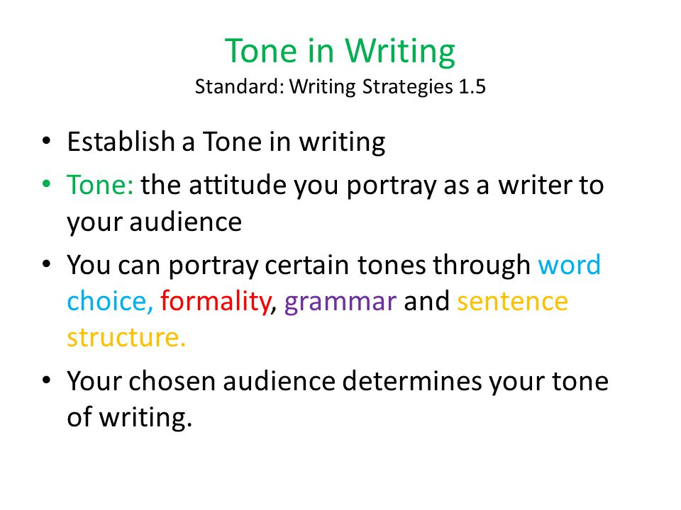 Tone in Writing Standard: Writing Strategies 1.5