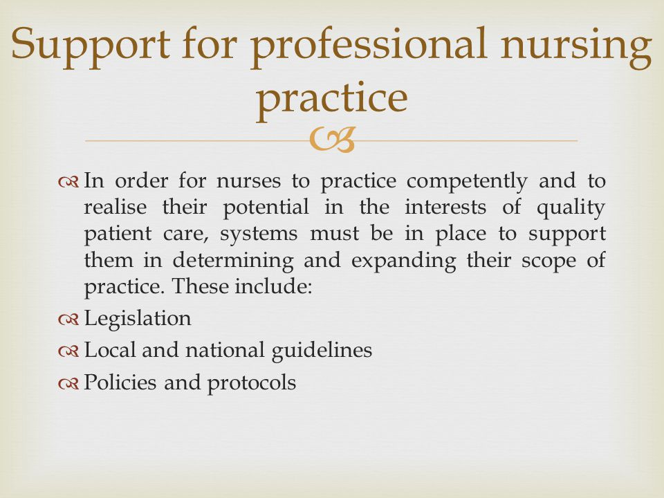 Support for professional nursing practice