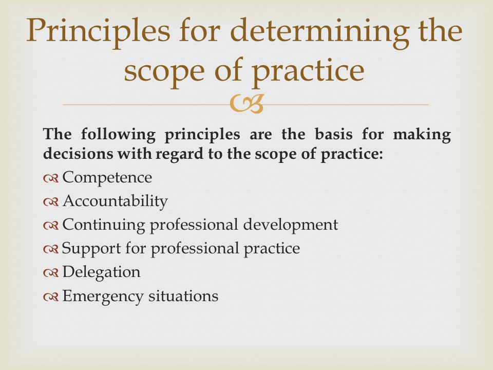 Principles for determining the scope of practice