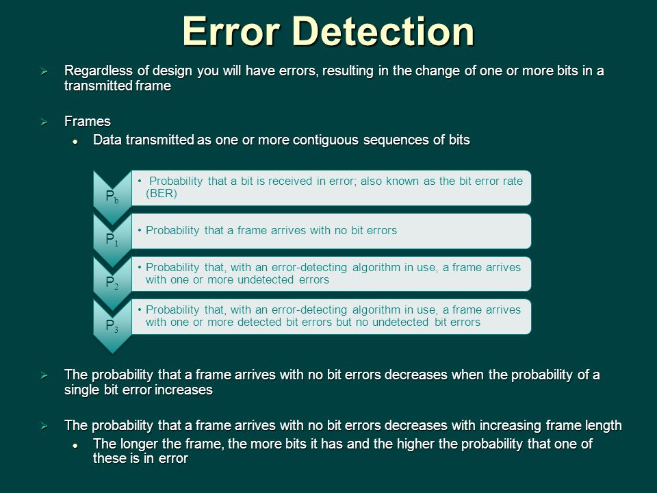 Error Detection Regardless of design you will have errors, resulting in the change of one or more bits in a transmitted frame.