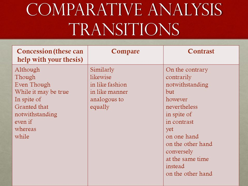 Comparative Analysis Transitions