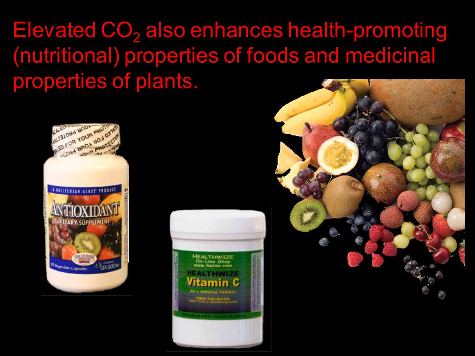 Elevated CO2 also enhances health-promoting (nutritional) properties of foods and medicinal properties of plants.