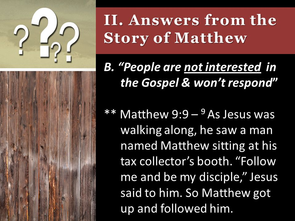 II. Answers from the Story of Matthew