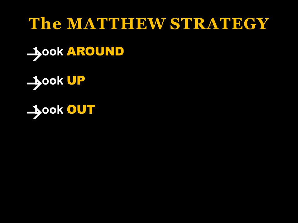 The MATTHEW STRATEGY Look AROUND Look UP Look OUT