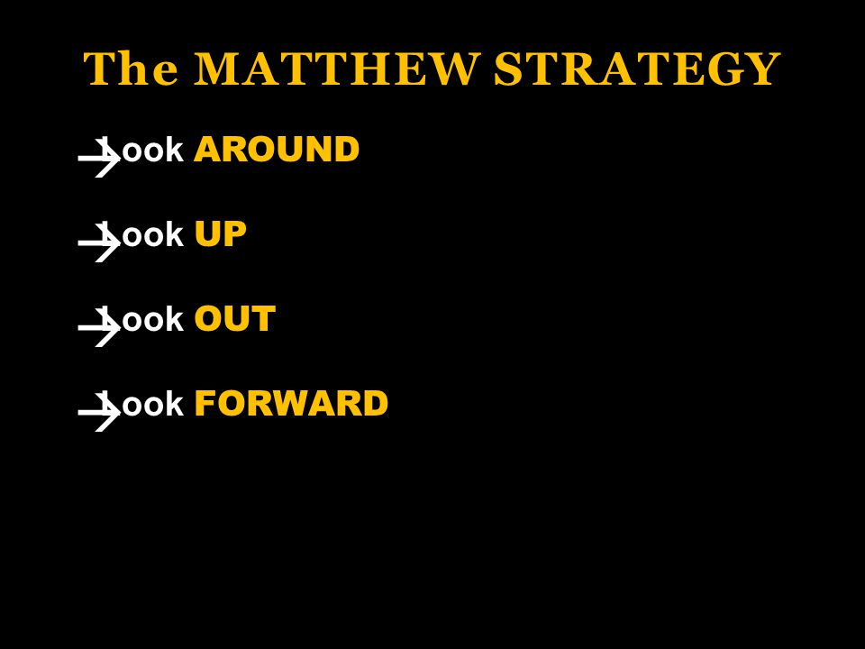 The MATTHEW STRATEGY Look AROUND Look UP Look OUT Look FORWARD