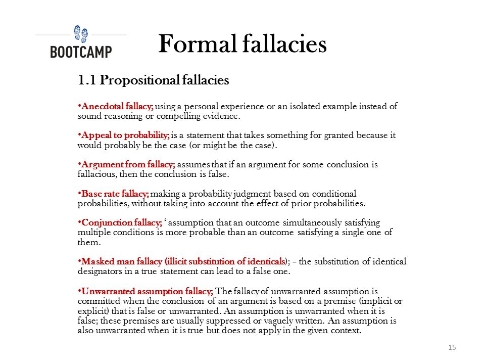 Formal fallacies 1.1 Propositional fallacies