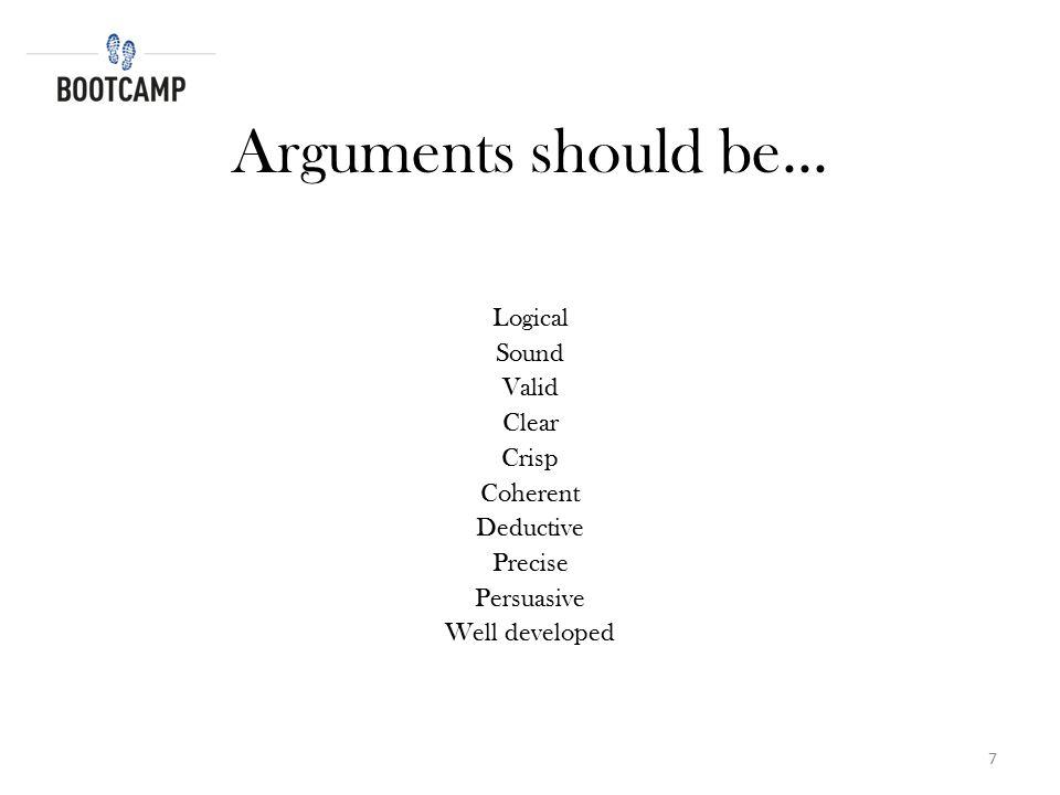 Arguments should be... Logical Sound Valid Clear Crisp Coherent
