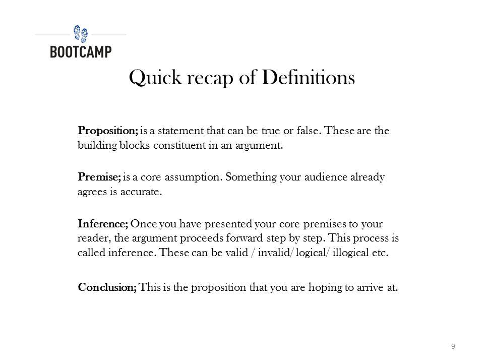 Quick recap of Definitions