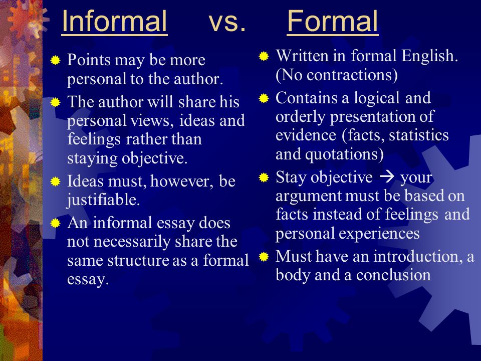 Informal vs. Formal Written in formal English. (No contractions)