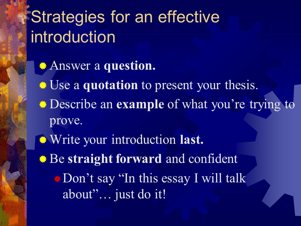 Strategies for an effective introduction