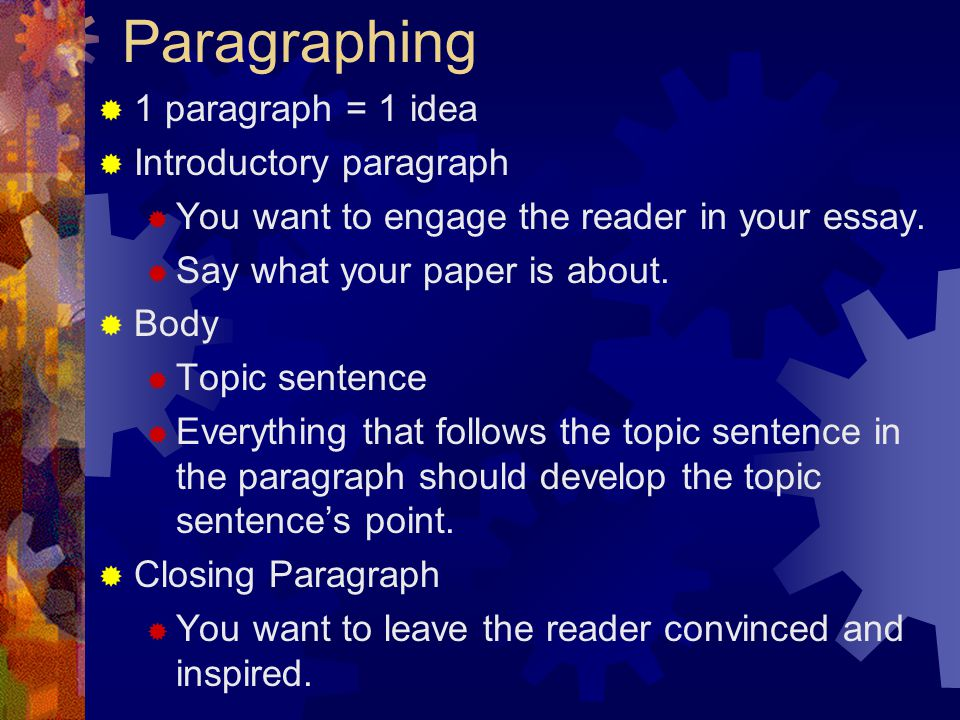 Paragraphing 1 paragraph = 1 idea Introductory paragraph