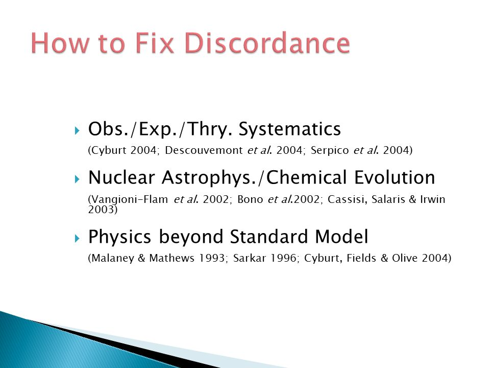 How to Fix Discordance Obs./Exp./Thry. Systematics
