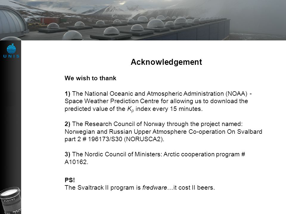 Acknowledgement We wish to thank