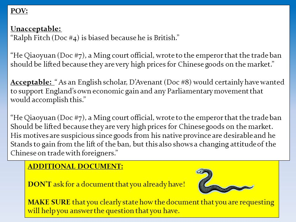 POV: Unacceptable: Ralph Fitch (Doc #4) is biased because he is British.