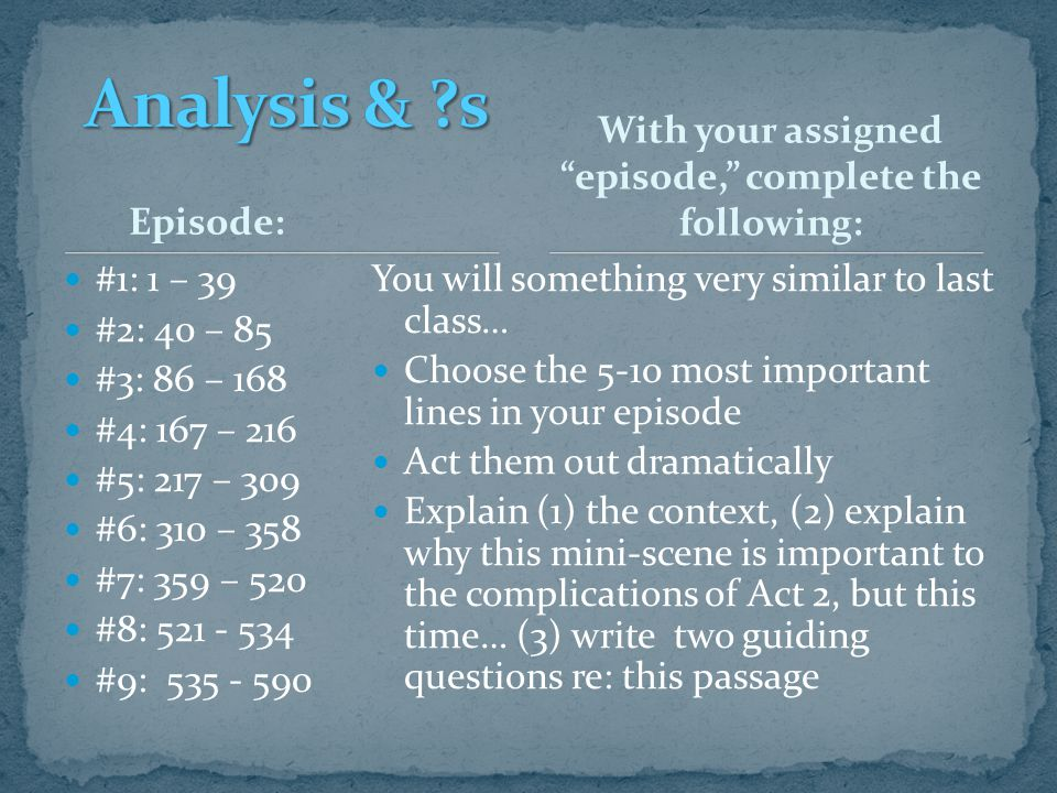 With your assigned episode, complete the following: